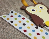 Owl Bow Holder with Polka Dots