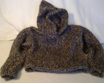 Hand knit Blue beige childs hoodie sweater