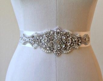 Bridal beaded rhinestone pearl sash. / Vintage style crystal applique wedding belt.  VINTAGE MOSAIC