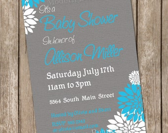 Boy Baby Shower Invitation Flower Blue and Grey printable invitation 20130115-K4-4