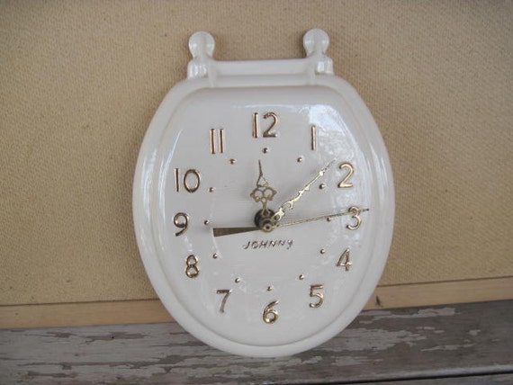 Whimsical Toilet Lid Bathroom Clock