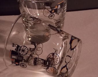 Vintage Mid-Century Libbey Glassware Coach and Buggy Carriage Pattern Set of 11