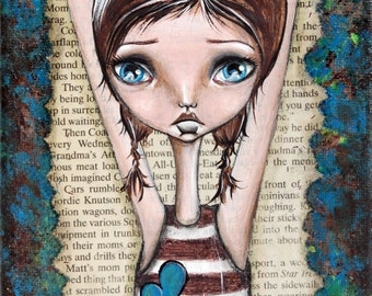 Mixed Media Big Eye Giclee Art Print Signed Reproduction Pondering by Lizzy Love [IMG#92]