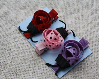LADYBUG Clip Trio/ No Slip Double Prong Alligator Clips / Red Pink Lavender