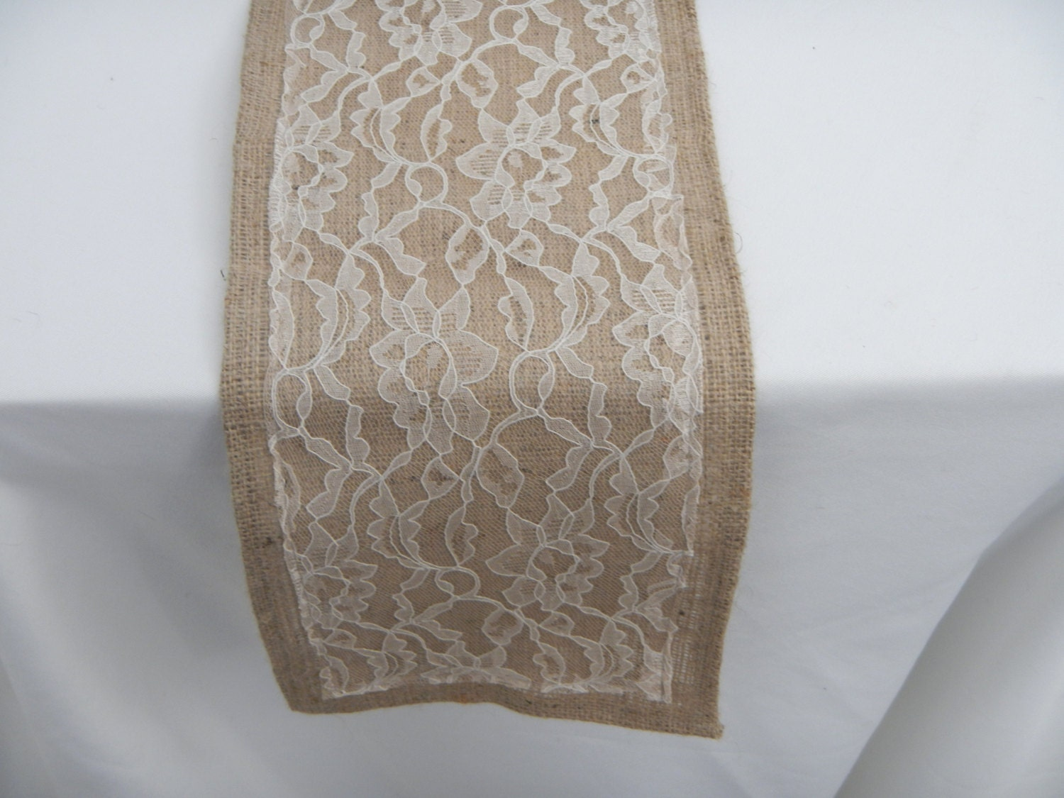 Burlap Table Runner with Lace Wedding Party by LolaRoseDesigns