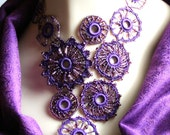Purple Crocheted Beaded Medallion Circle Fiber Necklace