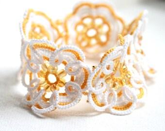 Crisp White Golden Yellow Cuff Bracelet Tatting Lace
