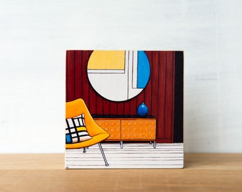 Midcentury Chair Art, SALE, midcentury modern, vintage chair art, midcentury wall art, yellow, Mondrian
