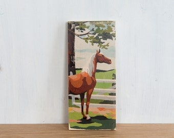 Paint by Number Art Block 'Horse' - vintage, trees, ranch, horse farm