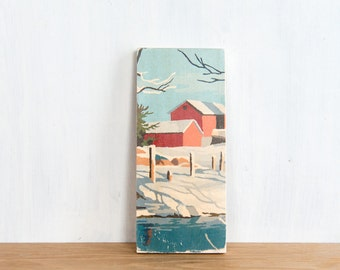 Paint by Number Art Block 'Red Barn Scene'- vintage winter landscape, farm, rural