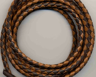 6 mm Luggage-Chocolate Round Braided Bolo Faux Leather Cord QUANTITY DISCOUNTS; 2yds, 4yds, 6yds