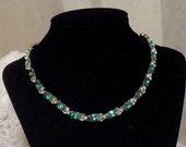 Vintage Rhinestone Necklace, Clear and Blue gemstones, 1950s something blue bridal choker.