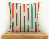 Throw pillow covers - Handprinted pillow in charcoal grey, orange, turquoise and natural beige with geometric stripes design - 16x16 size - ClassicByNature