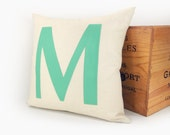 Monogram pillow - Alphabet letters - Mint green letter M applique on cream canvas - 16x16 decorative throw pillow cover - ClassicByNature