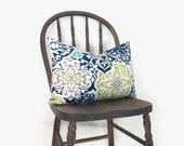 Outdoor pillow - Patio decor - Colorful - Aqua, navy blue, green, grey and cream botanical colorful pillow - 12x18 lumbar pillow cover - ClassicByNature