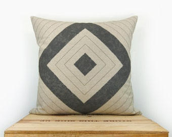16x16 Geometric Pillow with Charcoal Grey & Natural Beige Diamond Print | 40x40 cm Hand Printed Graphic Design Pillow case, Cushion Cover