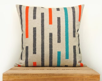 Decorative throw pillow case in 16x16, 40x40 cm | Hand printed geometric stripes cushion cover in grey, orange, turquoise and natural beige
