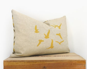 12x18 Flock of Birds Decorative Throw Pillow Case | Hand Screen Printed Cushion Cover in Mustard Yellow, Grey, Beige and Geometric Accent