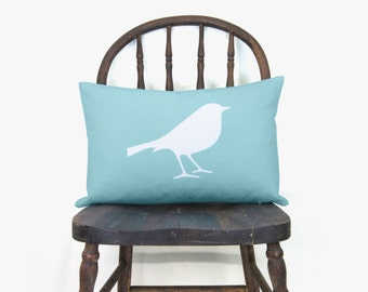 Bird throw pillow cover in aqua & white - Blue aquamarine woodland animal 12x18 lumbar cushion, pillow case - Cape cod and shabby chic decor