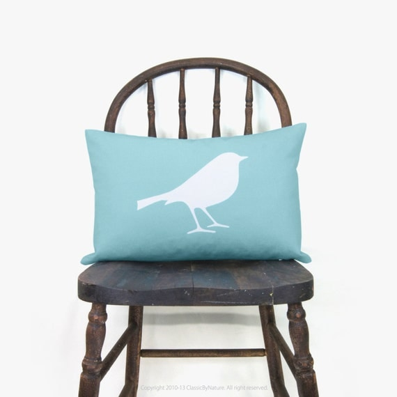 Bird throw pillow cover in aqua and white | Blue aquamarine woodland animal 12x18 lumbar cushion, pillow case | Cape cod, shabby chic decor