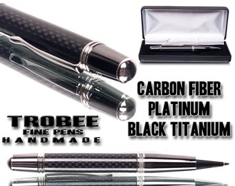 Carbon fiber Pen for men, platinum, black titanium cool pen for a man business executive power pen writing instrument  top pen maker