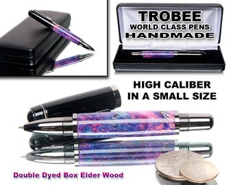 Small high caliber rollerball pen Handmade with pink and blue box elder wood gun metal parts - little in size - world class