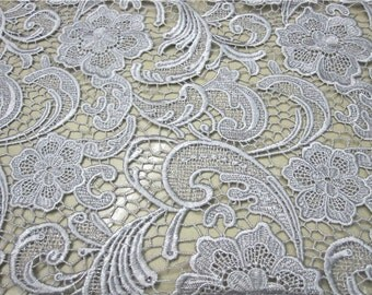 Graceful Grey Silver Venice Lace Fabric Crocheted Hollowed Out Fabric 35 Inches Wide 1/2 Yard For Wedding Dress Veil Costume Supplies