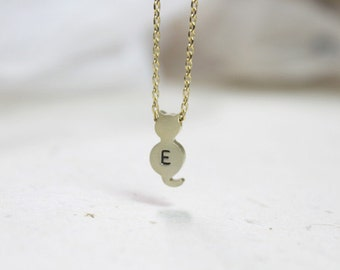 Personalized initial gold Cat Necklace - S2064 - 4