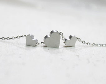 Cute Three silver Heart charms Necklace - S2315-1