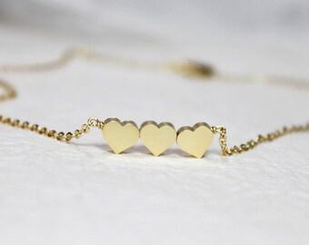 Cute three Hearts  Necklace - S2005-2
