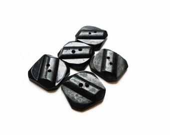 5 Large Black Square Vintage Buttons