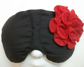 Herbal Hot/Cold Therapy Sleep Mask Black and Red Felt Flower