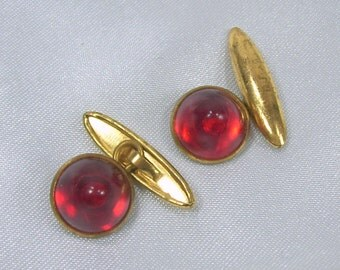 Vintage Cuff Links Art Deco Red Domed Plastic Round Cufflinks