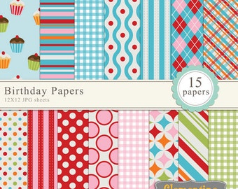 Birthday digital paper 12x12, digital scrapbook paper, royalty free- Instant Download