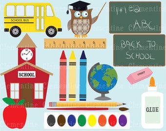 Back to School clip art, school clip art images,  royalty free- Instant Download