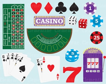 Poker clip art images, casino clip art, royalty free images, commercial use- Instant Download
