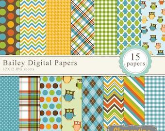 Owl scrapbook paper 12x12, boy digital scrapbooking paper, royalty free- Instant Download