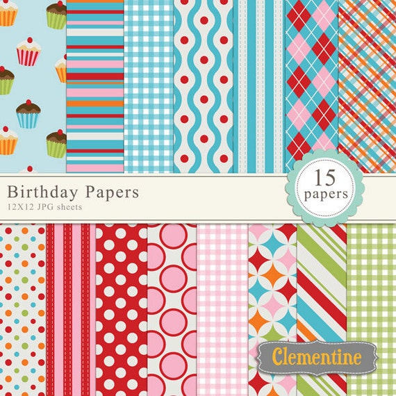 birthday digital paper 12x12 digital scrapbook paper royalty
