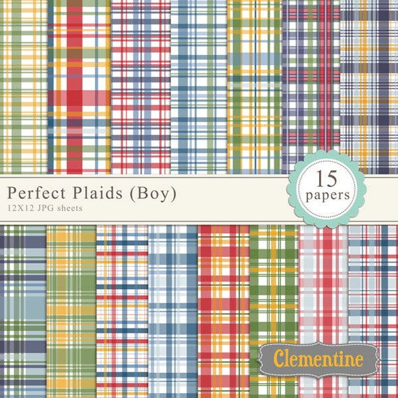 Printable Plaid scrapbook paper 12x12, digital scrapbooking paper, royalty-free commercial use - boy- Instant Download