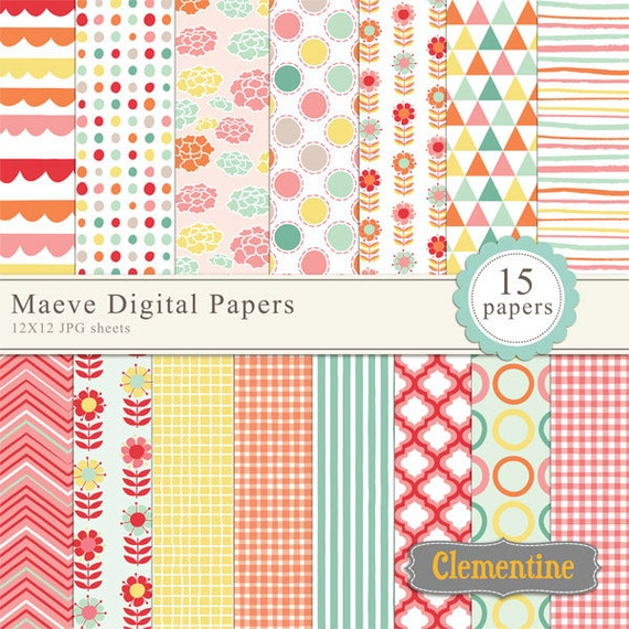 Maeve floral digital papers, digital scrapbooking paper ...
