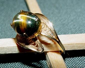 Sale-Tigers Eye 12 K Gold Filigree Ring-Vintage SALE- Retro Classic- Size 6
