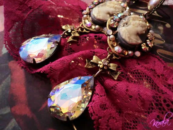 Large Aurora Borealis Crystal Cameo Earrings- Swarovski Crystal Earrings- Victorian, Feminine, Handmade Edwardian Jewelry