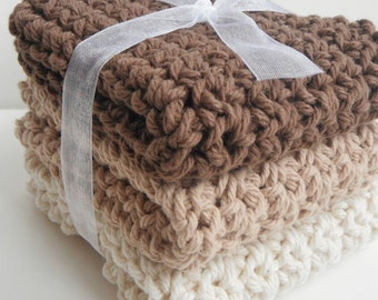 Crochet Dishcloths Washcloths - Set of 3 - For Kitchen, Bathroom, Baby - Ombre Brown, Tan, Off White - 100% Cotton