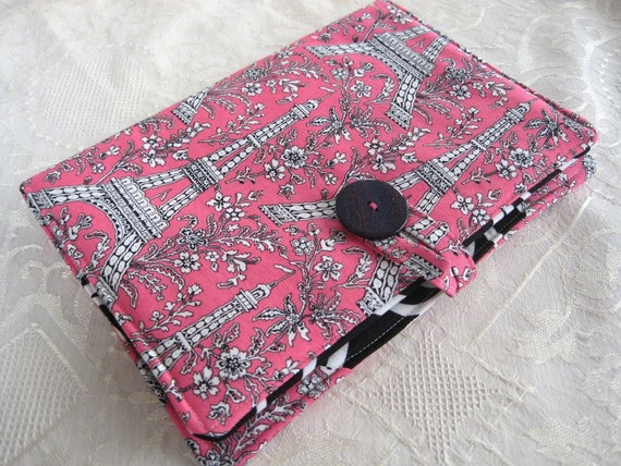 Sale Nook Cover Nook Tablet and Nook Color Cover Eiffel Tower Pink, Black and White