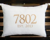 Monogrammed Outdoor Pillow Cover in Natural White | House Number | Personalized | Housewarming | Wedding | Date | Established | Gift