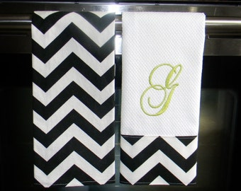 Monogrammed  Kitchen Towels or Hand Towels in Black Chevron | Housewarming Gift | Hostess Gift | Gifts for Her | Wedding