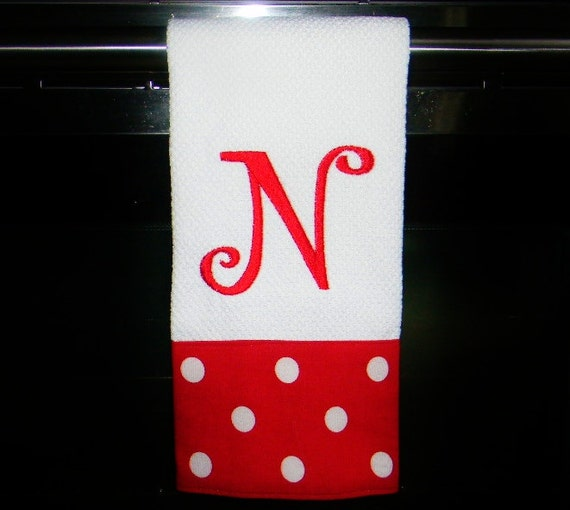 Monogrammed Kitchen Towel Or Hand Towel Red And By