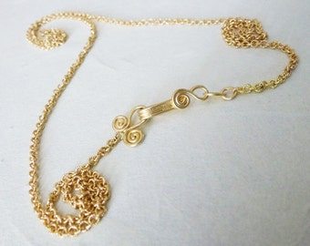 18K Gold Chain Necklace with Hand made gold clasp, 18K gold necklace