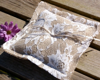 Ring bearer pillow - burlap and lace