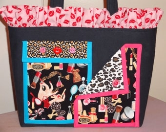 Black Denim Tote Bag with Old Hollywood Glamour Cosmetics Motif fabrics and LOTS of pockets